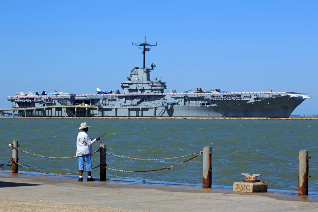 Stock Photo: 1486-16129 Aircraft carrier at the USS Lexington Museum, North Beach, Corpus Christi, Texas, USA