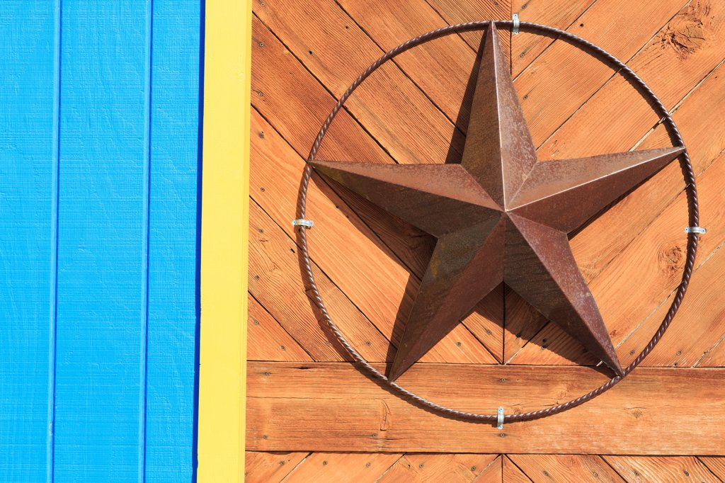 Stock Photo: 1486-16144 Star shape mounted on the wall of a store, North Beach, Corpus Christi, Texas, USA
