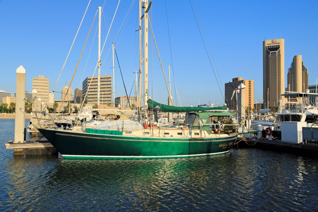 Stock Photo: 1486-16165 Boats at a marina, Corpus Christi, Texas, USA
