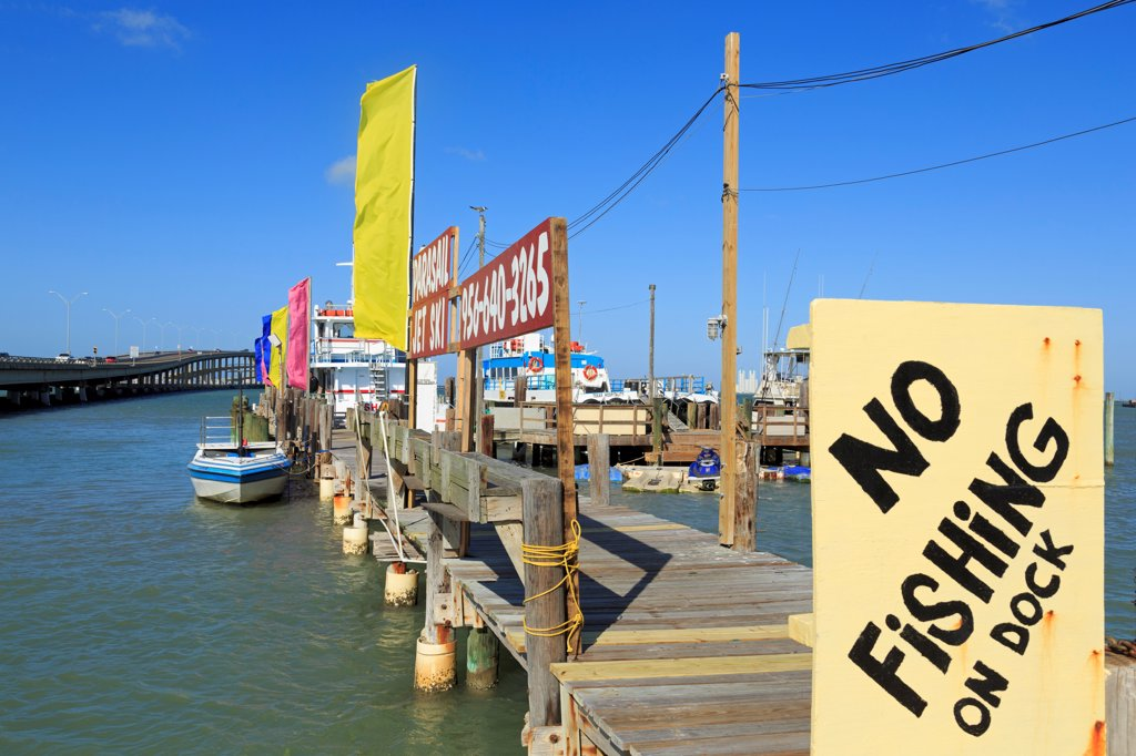 No Fishing sign on a dock, Dolphin Dock, Port Isabel, Texas, USA : Stock Photo