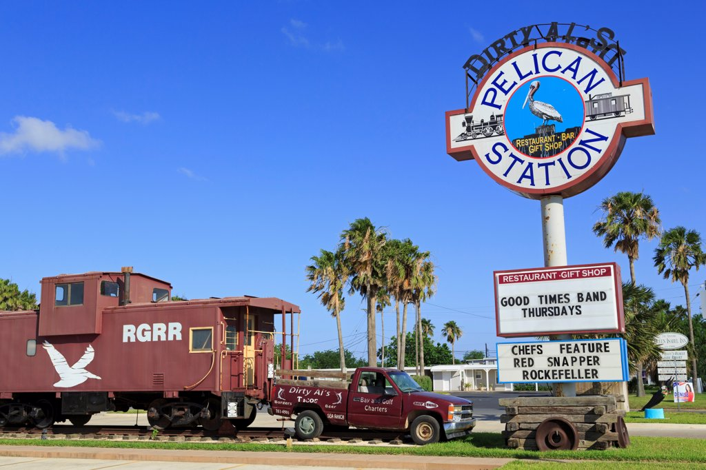 Stock Photo: 1486-16203 Signboard at a restaurant, Dirty Al's, Pelican Station, Port Isabel, Texas, USA