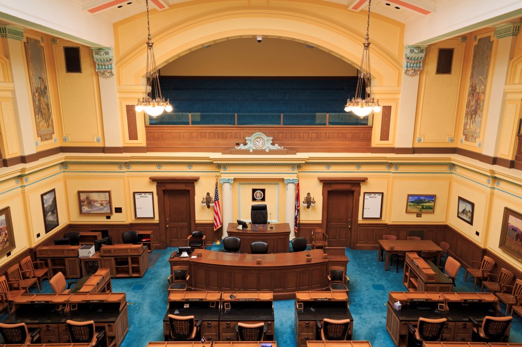 USA, Wyoming, Cheyenne, Senate Chamber in State Capitol : Stock Photo