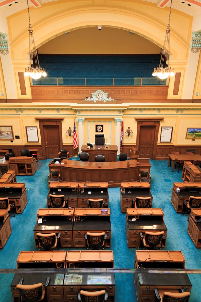 Stock Photo: 1486-16231 USA, Wyoming, Cheyenne, Senate Chamber in State Capitol