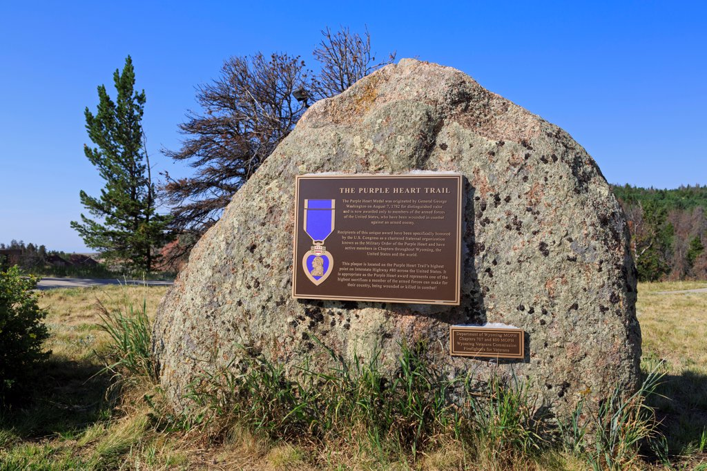 USA, Wyoming, Laramie, Purple Heart Trail plaque at Lincoln Monument : Stock Photo
