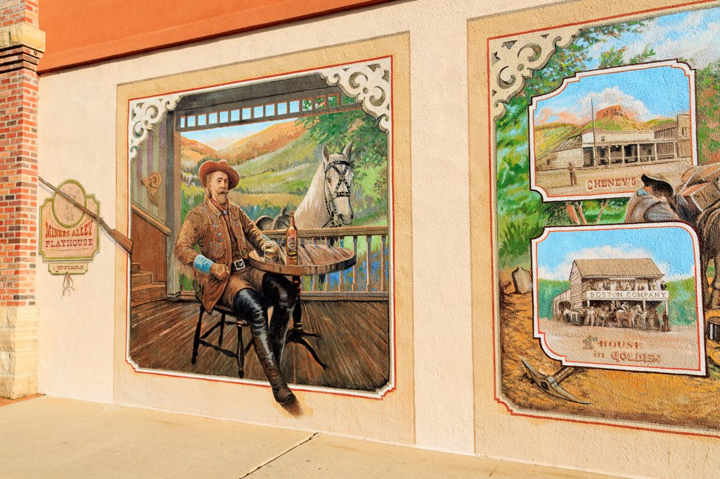 Stock Photo: 1486-16296 USA, Colorado, Golden, Mural on Miners Alley Theatre
