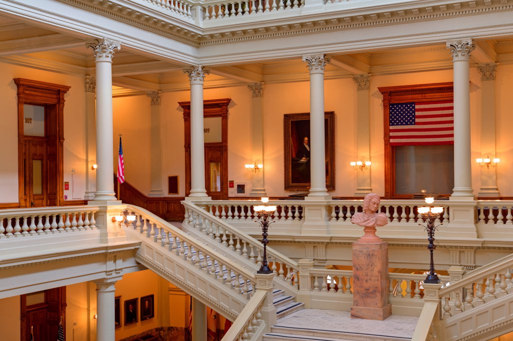 USA, Georgia, Atlanta, North Atrium in Georgia State Capitol : Stock Photo