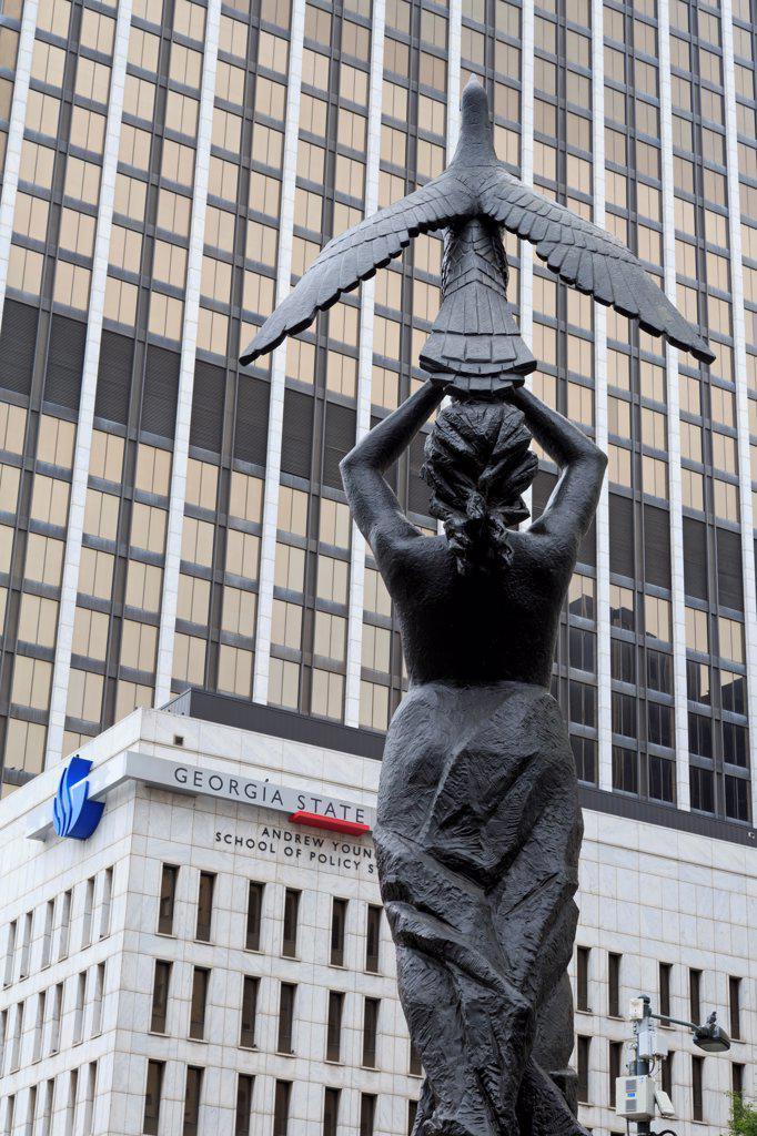 USA, Georgia, Atlanta, Phoenix sculpture by Gamba Quirino, Woodruff Park : Stock Photo