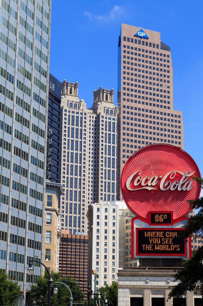 Stock Photo: 1486-16571 USA, Georgia, Atlanta, Commercial sign on Peachtree Street