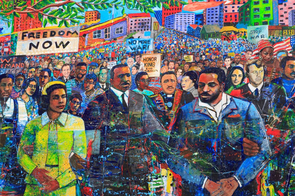 Stock Photo: 1486-16577 USA, Georgia, Atlanta, Martin Luther King Memorial Mural by Louis Delsarte, Martin Luther King Jr National Historic Site