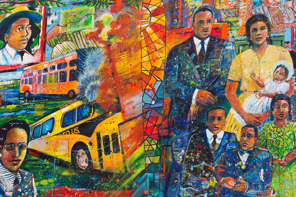 Stock Photo: 1486-16578 USA, Georgia, Atlanta, Martin Luther King Memorial Mural by Louis Delsarte, Martin Luther King Jr National Historic Site
