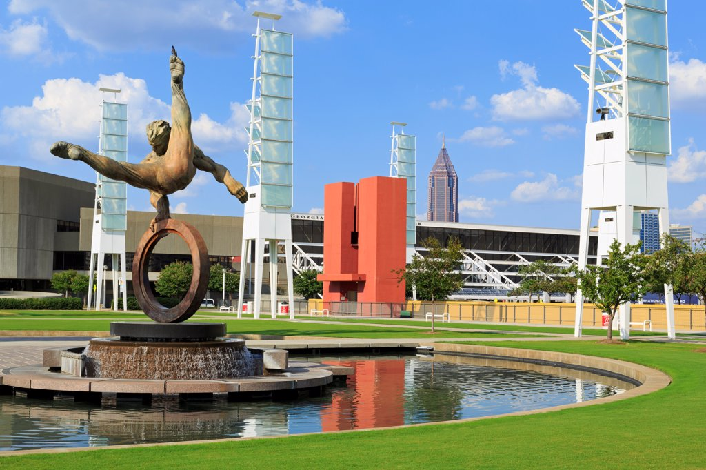 Stock Photo: 1486-16586 USA, Georgia, Atlanta, Flair Across America sculpture by Richard MacDonald, Georgia World Congress Center