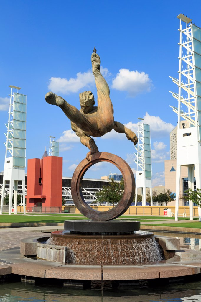 Stock Photo: 1486-16587 USA, Georgia, Atlanta, Flair Across America sculpture by Richard MacDonald, Georgia World Congress Center