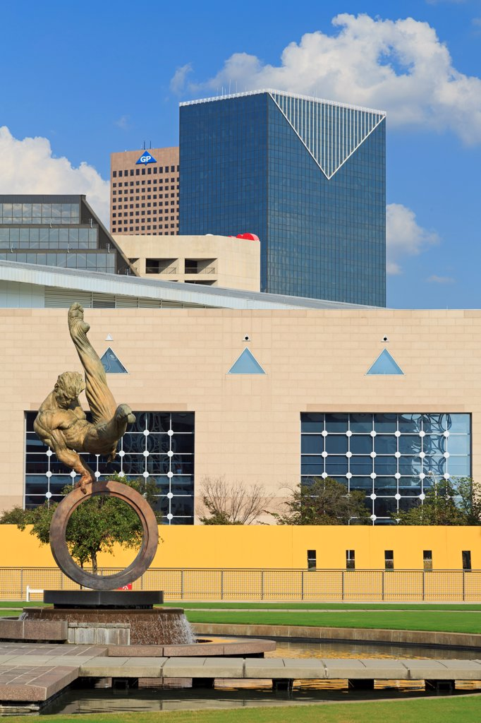 USA, Georgia, Atlanta, Flair Across America sculpture by Richard MacDonald, Georgia World Congress Center : Stock Photo