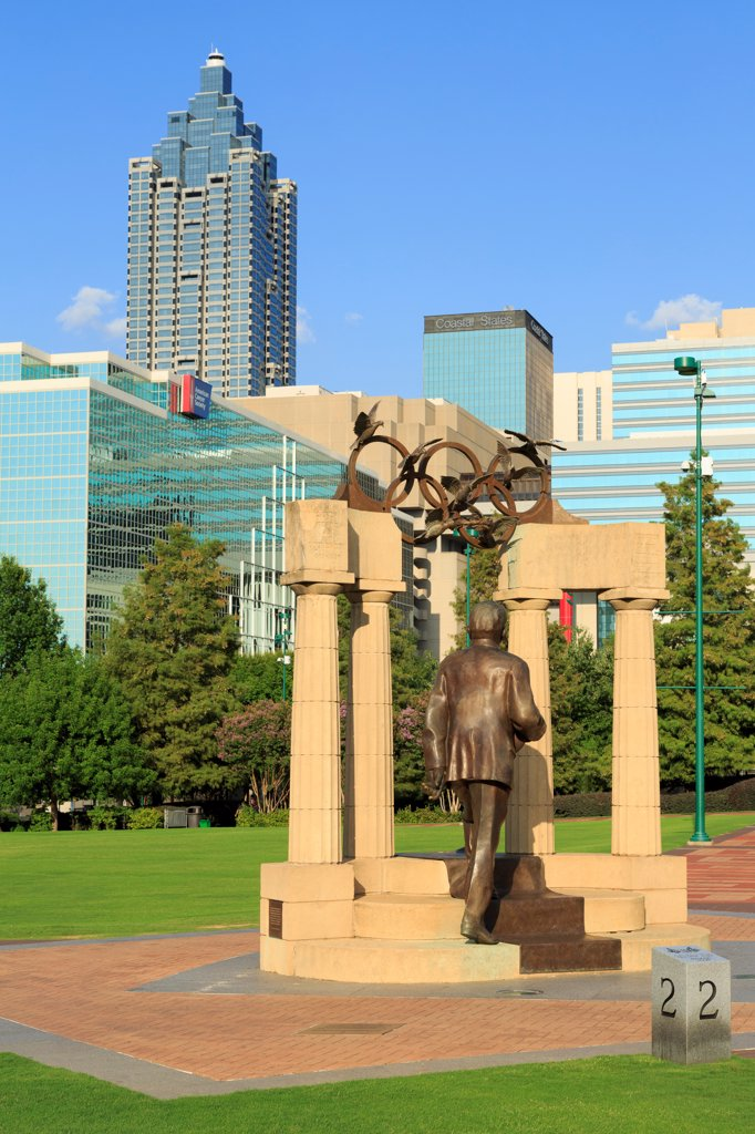 Stock Photo: 1486-16592 USA, Georgia, Atlanta, Baron Pierre De Coubertin Monument, founder of modern Olympics, Centennial Olympic Park