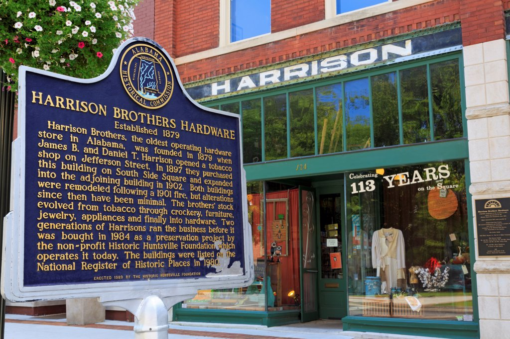Stock Photo: 1486-16688 USA, Alabama, Huntsville, View of Harrison Brothers Hardware Store