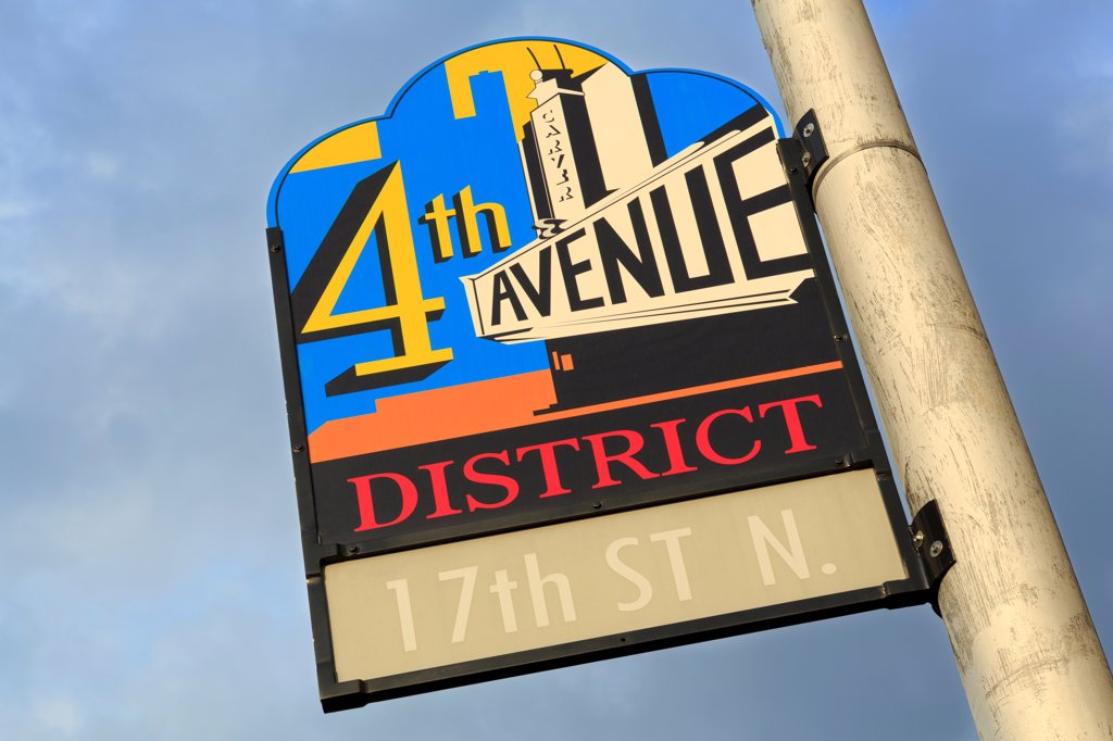 Stock Photo: 1486-16699 USA, Alabama, Birmingham, Historic 4th Avenue District sign