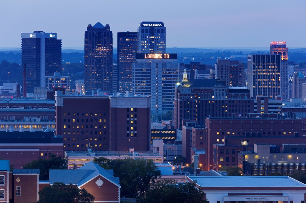 Stock Photo: 1486-16702 USA, Alabama, Birmingham skyline at twilight