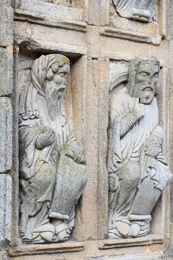 Carving detail on cathedral wall in Plaza Quintana, Santiago de Compostela, Galicia, Spain : Stock Photo