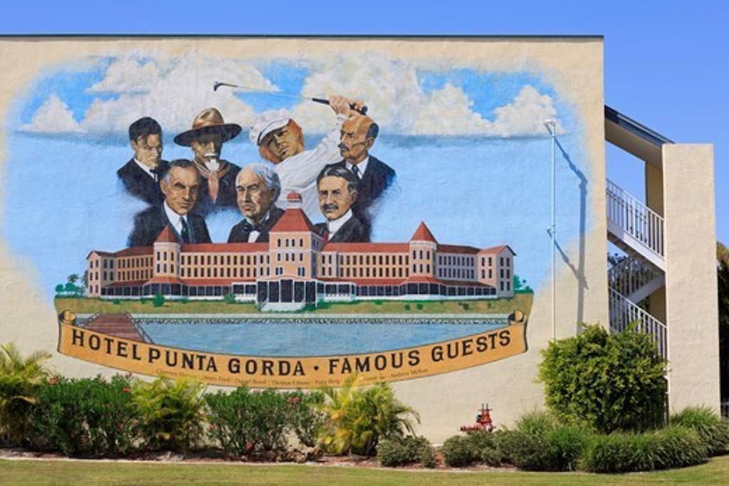 History mural in Punta Gorda, Charlotte County, Florida, USA : Stock Photo