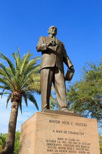Stock Photo: 1486-17760 Low angle view of the statue of Mayor Nick Nuccio, Ybor City Historic District, Tampa, Florida, USA