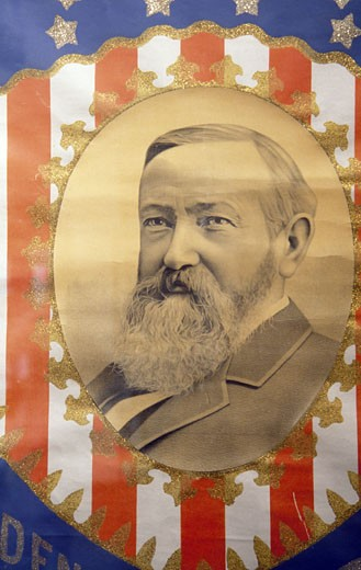 USA, Indiana, Indianapolis, President Benjamin Harrison portrait : Stock Photo