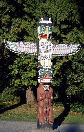 Canada, British Columbia, Vancouver, Stanley Park, Totem Pole : Stock Photo