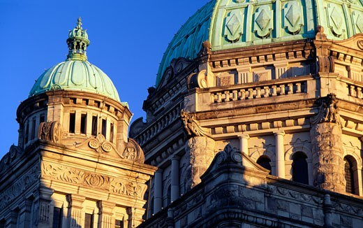 Low angle view of a government building, Parliament Building, Victoria, British Columbia, Canada : Stock Photo
