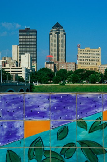 Stock Photo: 1486-2050 Close-up of a mural, Des Moines, Iowa, USA