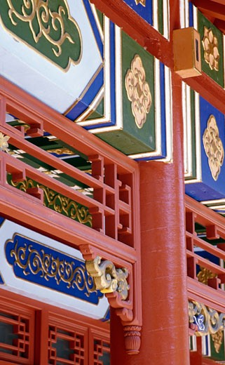 Architectural details of a building, Sun Yat Sen Park, Chinatown, Montreal, Quebec, Canada : Stock Photo