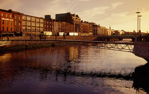 Bridge over a river, River Liffey, Dublin, Ireland : Stock Photo