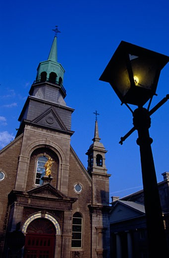 Stock Photo: 1486-219 Low angle view of a church, Notre-Dame-de-Bon-Secours Chapel, Montreal, Quebec, Canada
