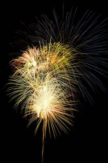 Stock Photo: 1486-2215 Low angle view of fireworks at night