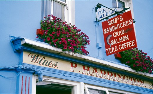 Low angle view of the sign of a restaurant, Glengarriff, County Cork, Ireland : Stock Photo