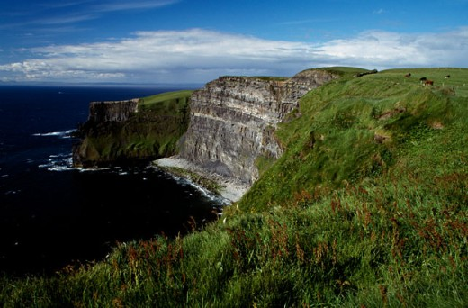 Stock Photo: 1486-2662A High angle view of a coastline, Cliffs of Moher, County Clare, Ireland