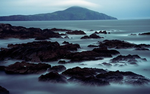 Silhouette of rocks on a coast, Atlantic Drive, Achill Island, County Mayo, Ireland : Stock Photo