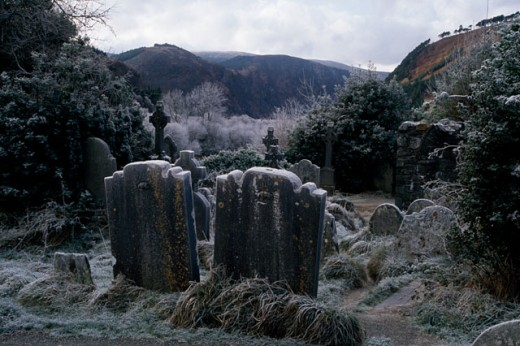 Tombstones in a cemetery, Glendalough National Park, County Wicklow, Ireland : Stock Photo