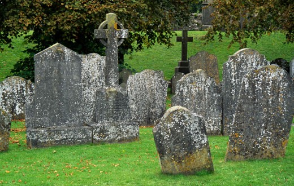 Tombstones in a cemetery, Kilkenny, County Kilkenny, Ireland : Stock Photo