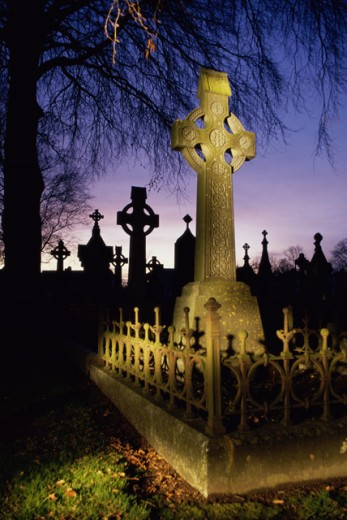 Stock Photo: 1486-2865 Tombstones in a cemetery, St. Finbarr's Cemetery, Cork, County Cork, Ireland