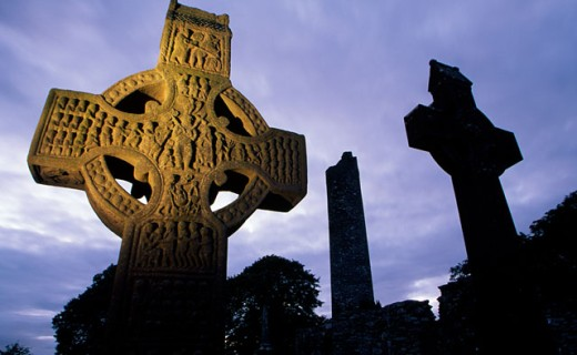 Low angle view of tombstones in a cemetery, Monasterboice, County Louth, Ireland : Stock Photo