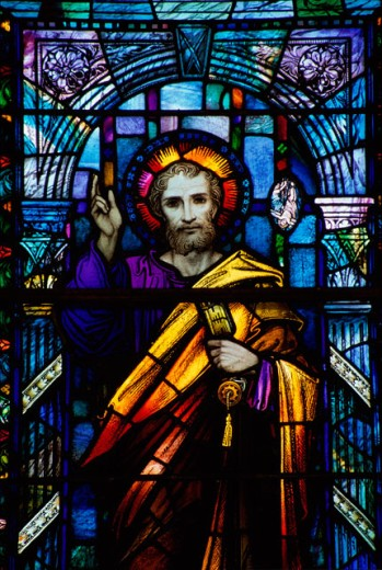 Stock Photo: 1486-2901 Stained glass window at St. Peter's Church, Athlone, Ireland