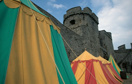 Low angle view of a castle, King John's Castle, Limerick, Ireland : Stock Photo