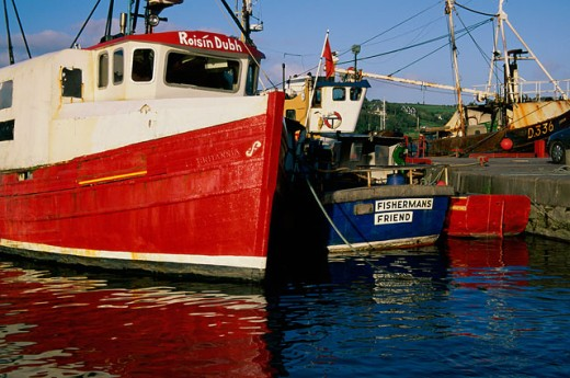 Fishing boats docked at a port, Kinsale, Ireland : Stock Photo