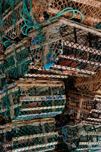 Stack of fishing cages, Ireland : Stock Photo