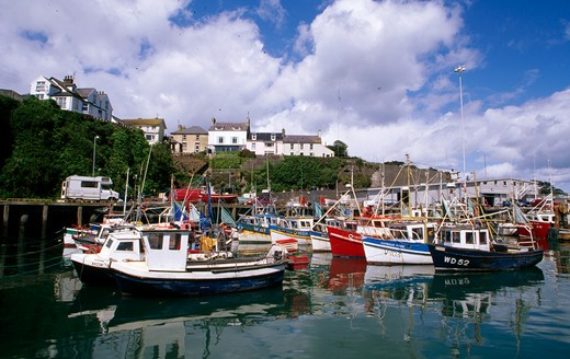 Stock Photo: 1486-3190A Boats moored in a harbor, Dunmore East, County Waterford, Ireland