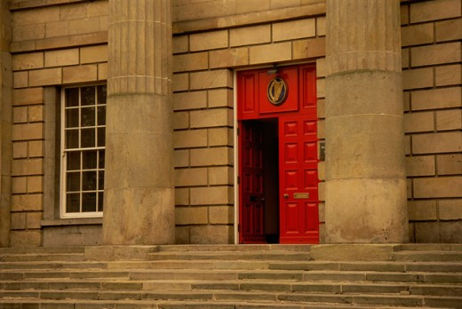 Facade of a building, Courthouse, Monaghan, Ireland : Stock Photo
