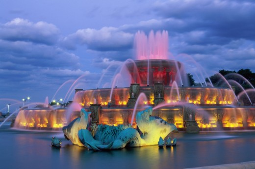 Stock Photo: 1486-3511 Buckingham Fountain, Grant Park, Chicago, Illinois, USA