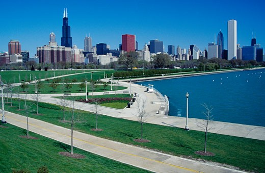 Stock Photo: 1486-3516 Park with buildings in the background, Grant Park, Chicago, Illinois, USA