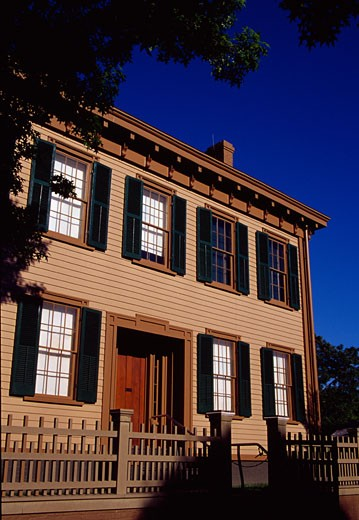 Facade of a house, Lincoln Home National Historic Site, Springfield, Illinois, USA : Stock Photo