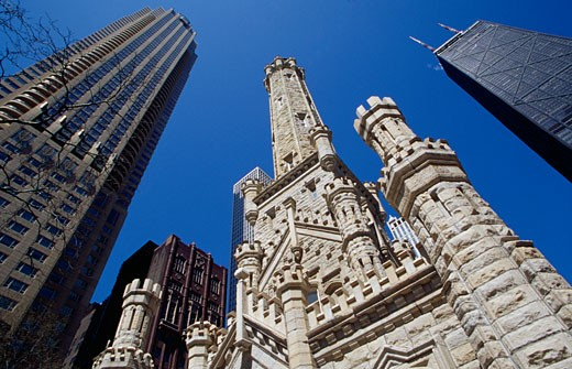Low angle view of a water tower, Old Water Tower, John Hancock Building, Chicago, Illinois, USA : Stock Photo