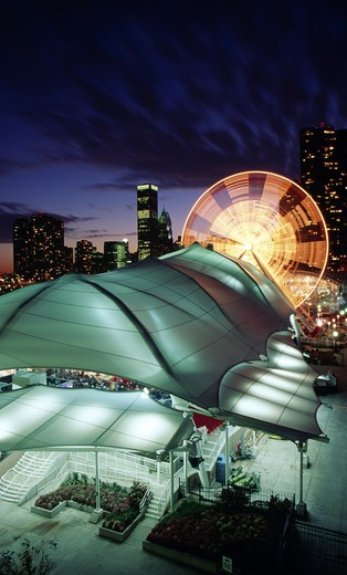 Stock Photo: 1486-3568A USA, Illinois, Chicago, Navy Pier at night